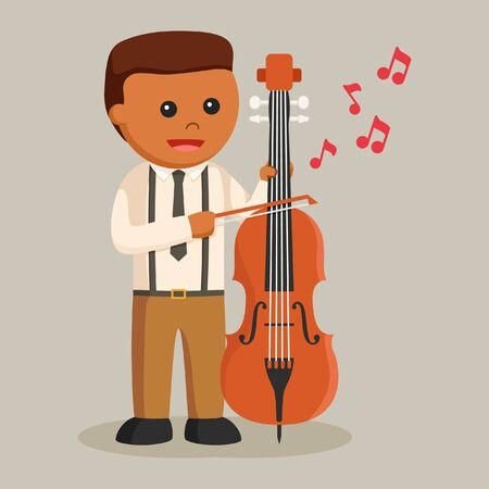 african musician with counter bass Illustration