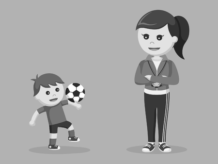 female sport teacher train boy how to juggle black and white style