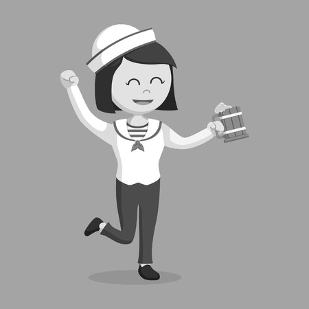 female sailor with beer black and white style