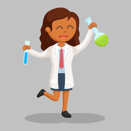 african woman scientist holding two test tubes