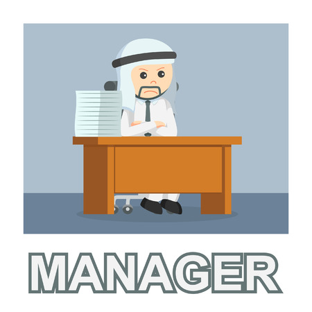 Arab businessman manager photo text style Vectores
