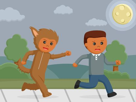 costume player chasing african man Illustration