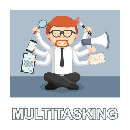 businessman multitasking photo text style Illustration