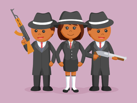 african woman mafia boss with her crew Vector illustration.
