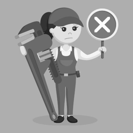 female plumber holding false sign and giant pipe wrench black and white style