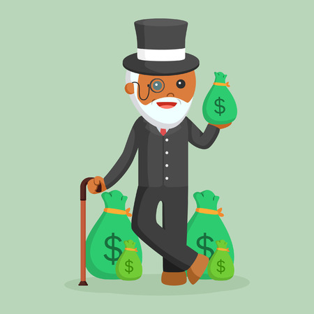 An old rich man on colorful background.