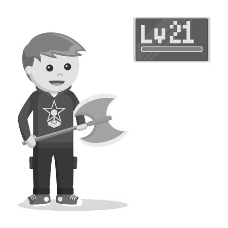 level 21 rpg gamer holding axe black and white style Illustration