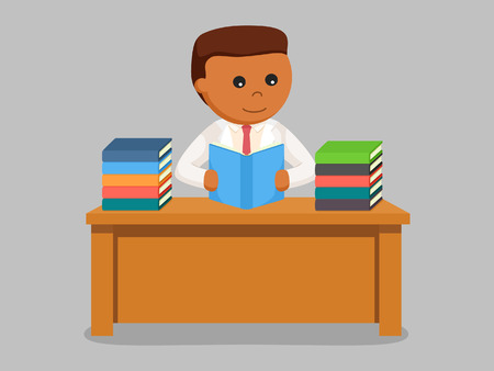 african scientist reading books Illustration