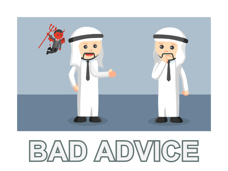 Businessman doing bad advice with picture and text style illustration. Vettoriali