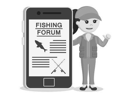 Fisher femme faisant forum de pêche dans un style noir et blanc.