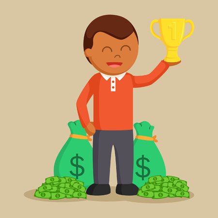 african man winning trophy and money Illustration