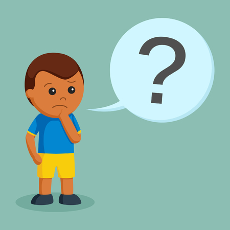 african little boy confused with question mark callout