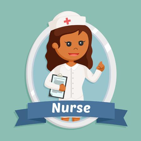 african nurse in emblem Illustration