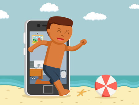 African going vacation through smartphone Illustration
