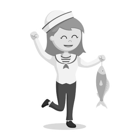 Femme marin tenant poisson style noir et blanc Banque d'images - 95327779