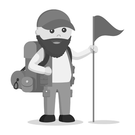 A fat man hiker with backpack and holding a flag in black and white style Illustration
