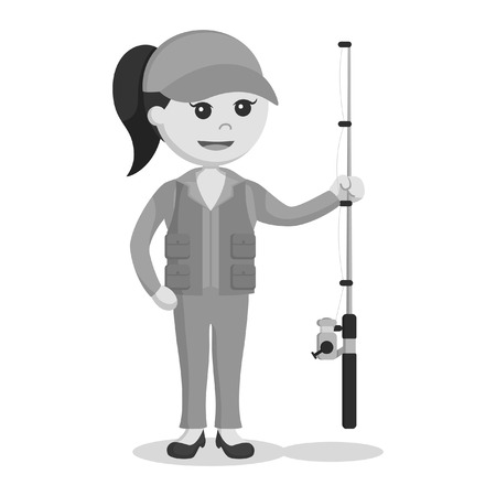 fisher woman holding fishing rod black and white style Illustration