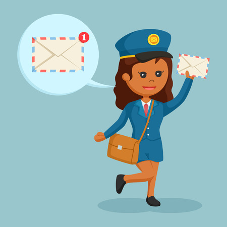 African postwoman with mail notification call out.