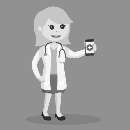 female doctor holding smartphone black and white style