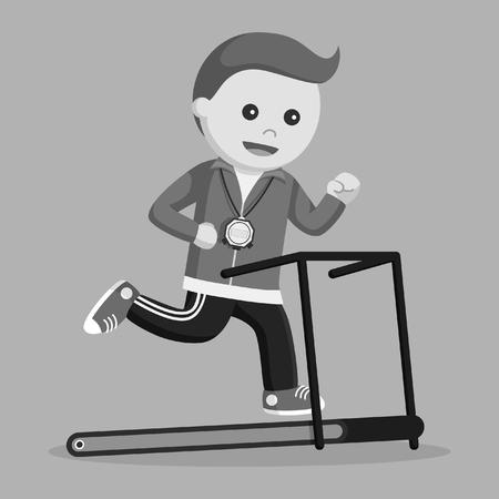 Sportlehrer, der auf Tretmil-Maschinenschwarzweiss-Art läuft