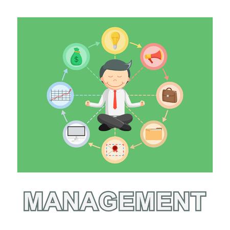 businessman management photo text style Illustration