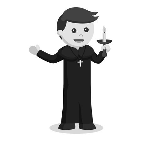 priest holding candle black and white style