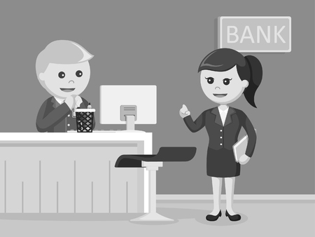 bank teller online service black and white style