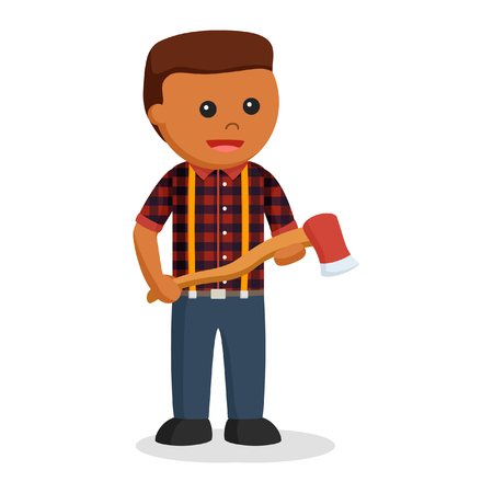 african lumberjack with axe