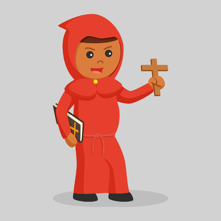 african red monk with bible and cross