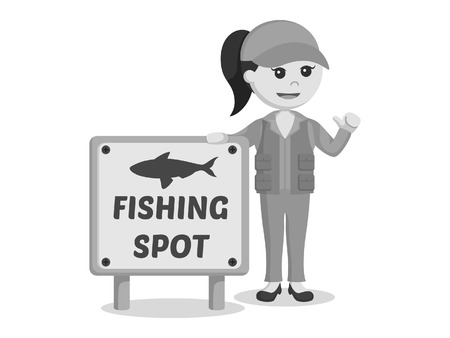 fisher woman standing beside fishing spot sign black and white style