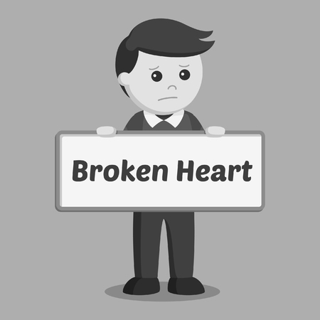 Man holding broken heart sign black and white style Ilustrace