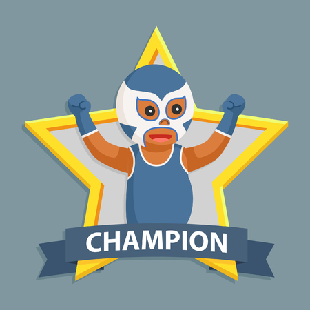 African lucha libre in champion emblem
