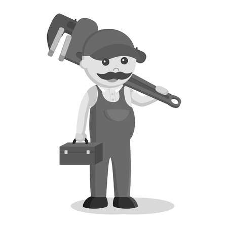 plumber holding tool box and giant pipe wrench black and white style Ilustrace