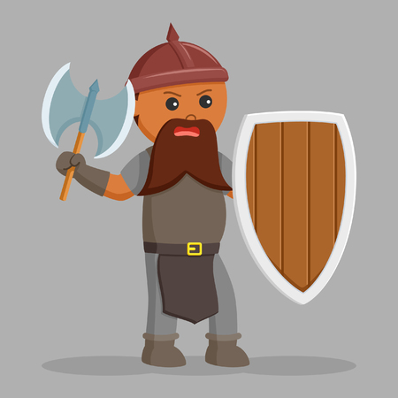african dwarf warrior with axe and shield