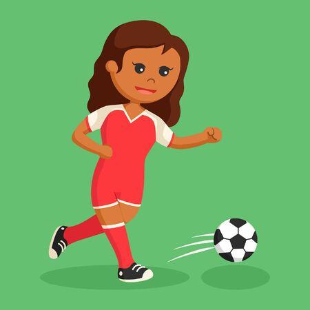 soccer ball player girl running