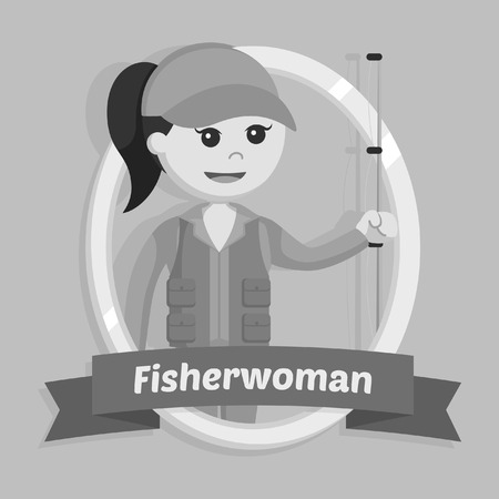 fisher woman in emblem black and white style