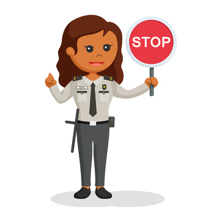 African security officer woman with stop sign black and white style Çizim