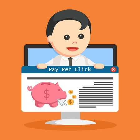 SEO PPC link hold by businessman in monitor PC illustration.