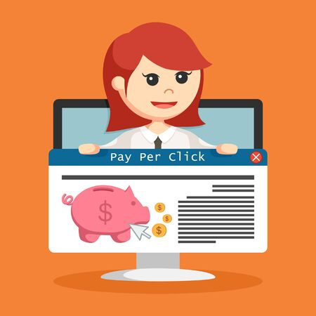 SEO PPC link hold by businesswoman in monitor PC illustration.