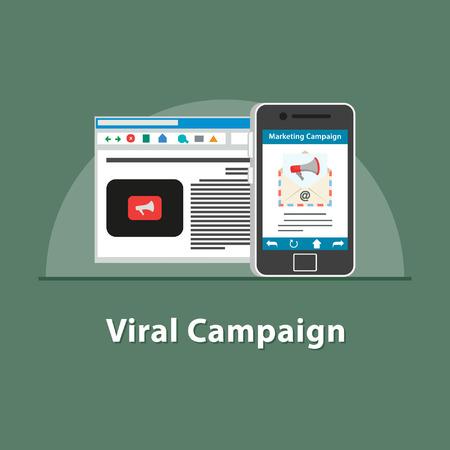 SEO Viral campaign in smartphone  イラスト・ベクター素材