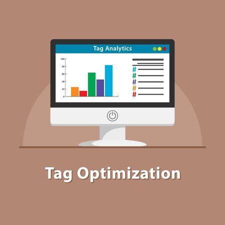 SEO Tag optimization in pc monitor Illustration