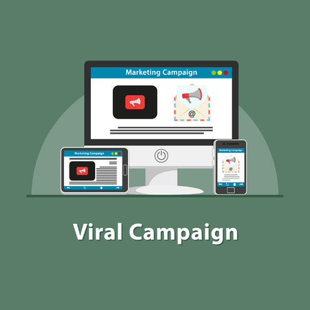 SEO Viral marketing campaign in various devices illustration.