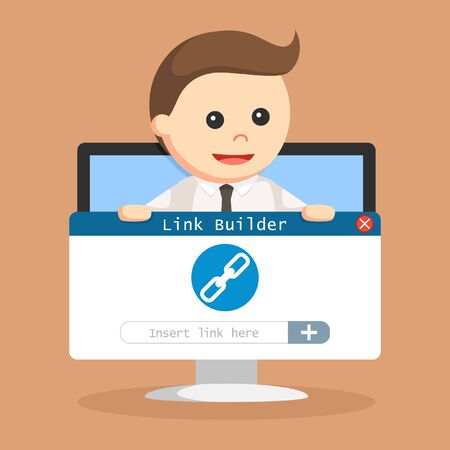 SEO Link building hold by businessman in monitor PC Illustration