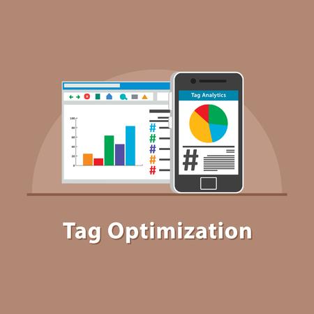 Tag optimization in smartphone Ilustrace