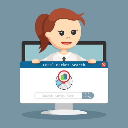 SEO Local market hold by businesswoman in monitor PC Illustration