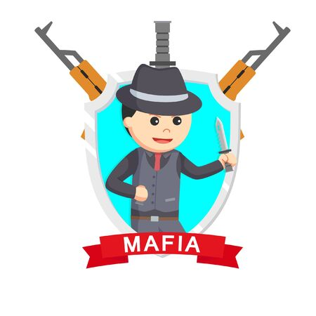 mafia knife emblem design vector illustration