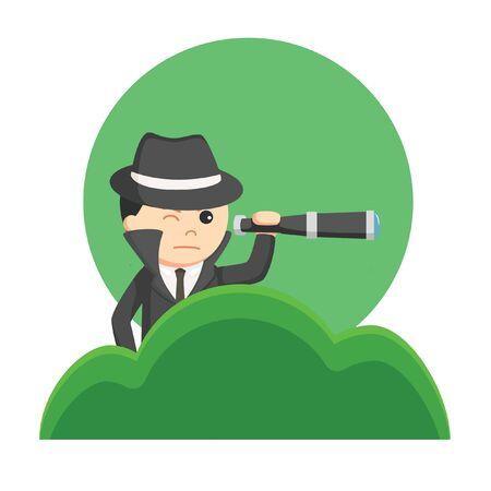 espiar el negocio desde la ilustración de vector de hierba Ilustración de vector