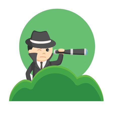 spy on business from grass vector illustration