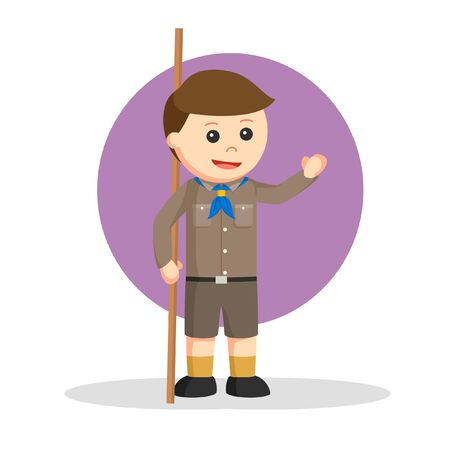 the scout holds the stick vector illustration