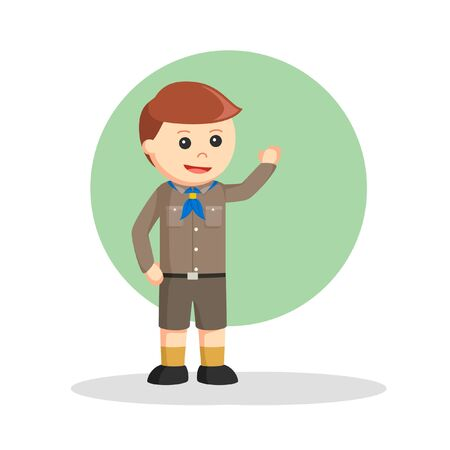 the scouts raised their hands vector illustration